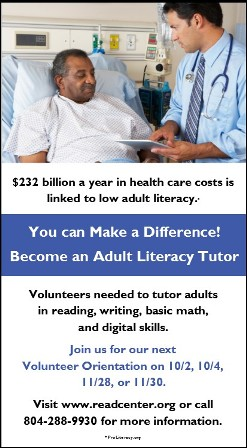 Low literacy creates health barriers. Become an adult literacy tutor.