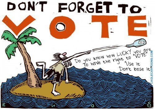 Don't forget to vote cartoon